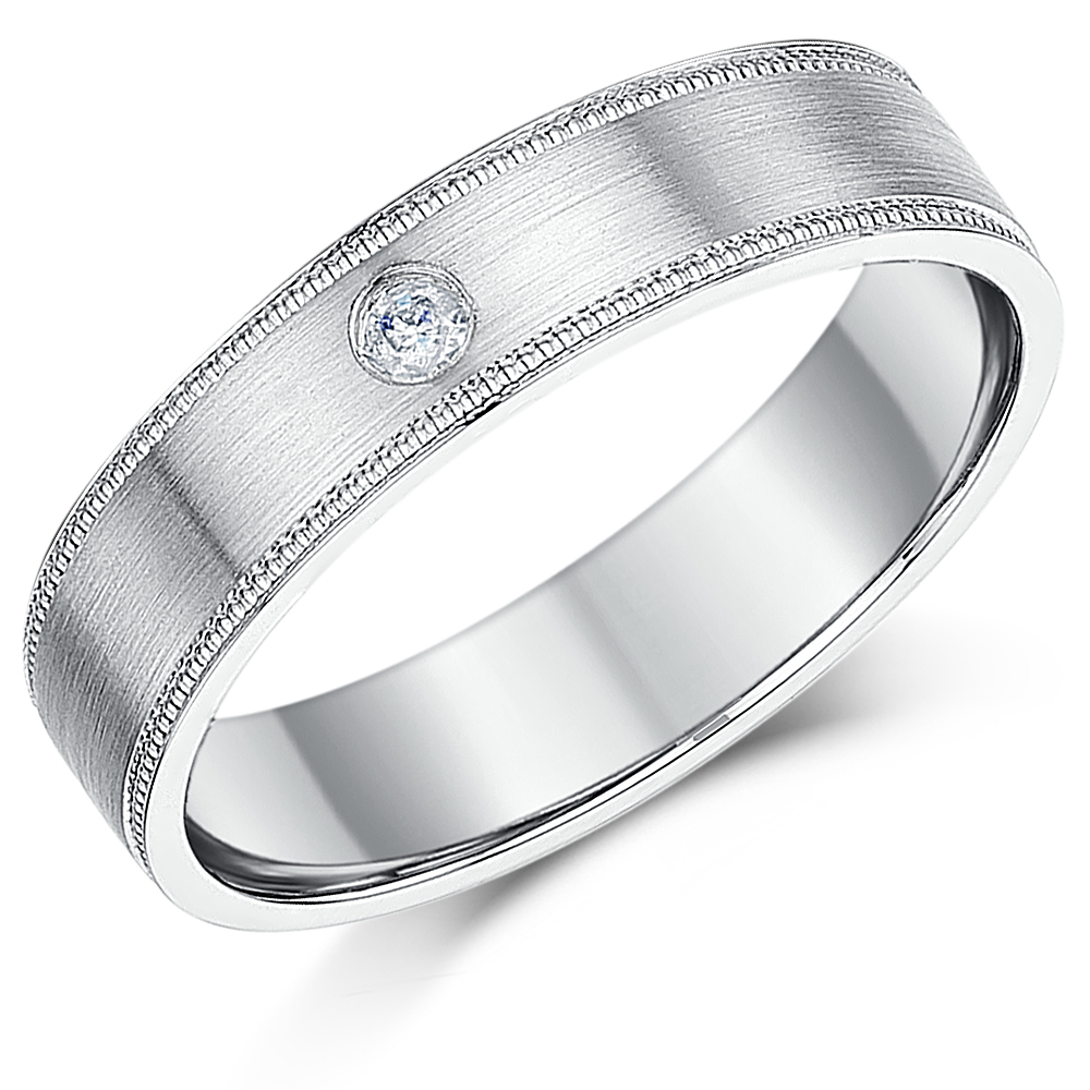 5mm Palladium 950 Diamond Wedding Ring  Band