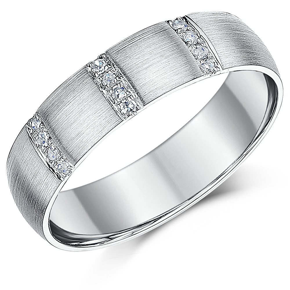 6mm Palladium 950 Diamond Wedding Ring Band