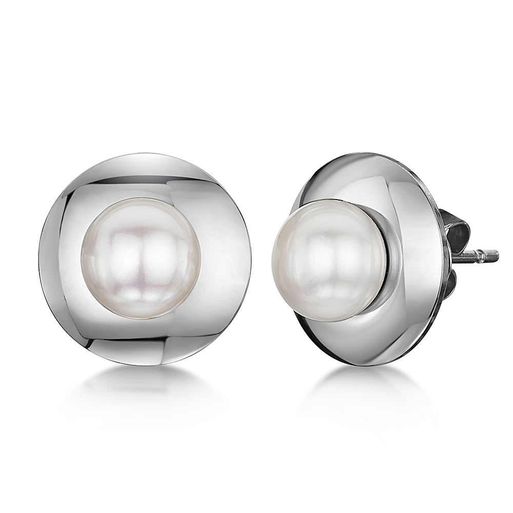 Titanium Earrings Pearl Plate Design Polished Pearl Stud Earrings