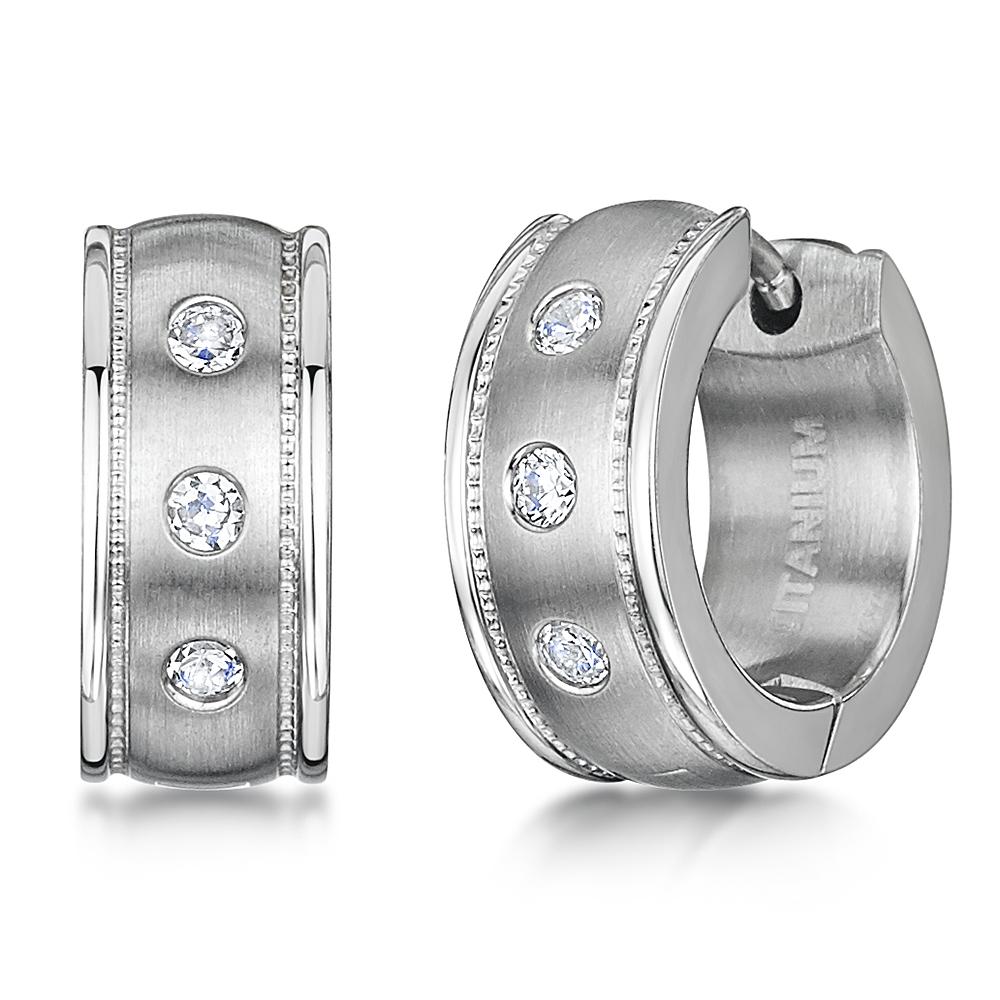Titanium 3 Stone Matt & Polished  Huggie Hinged Hoop Earrings