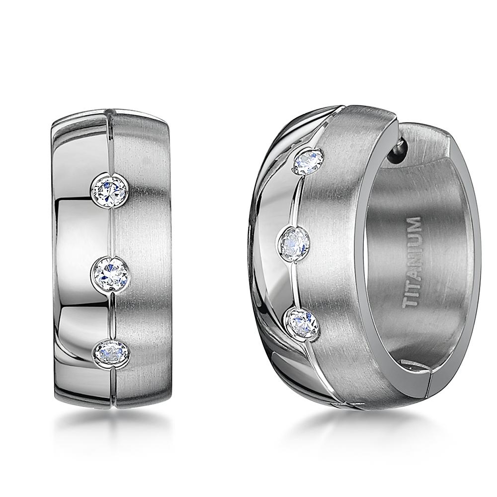 Men's Earring Titanium 3 Stone Matt & Polished Huggie Hinged Hoop Earrings