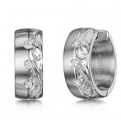 Titanium Hand Engraved Hoop Huggie Cz Matt & Polished Earrings
