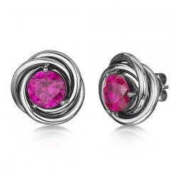 Titanium and Pink Sapphire Stud Earrings