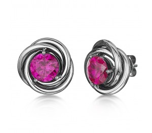 Sapphire Earrings Titanium and Pink Sapphire CZ Stud Earrings 15mm