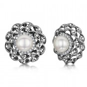Titanium Pearl Large Earrings Flower Pearl & Cz Multi Stone Earrings 18mm