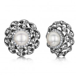 Titanium Flower Setting Pearl & Cz Stone Earrings