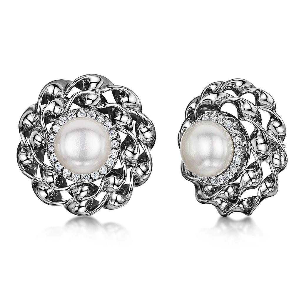 Titanium Flower Setting Pearl & Cz Stone Earrings