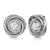 Titanium Earrings Large Twirled Multi Stone Round Stud Earrings 18mm