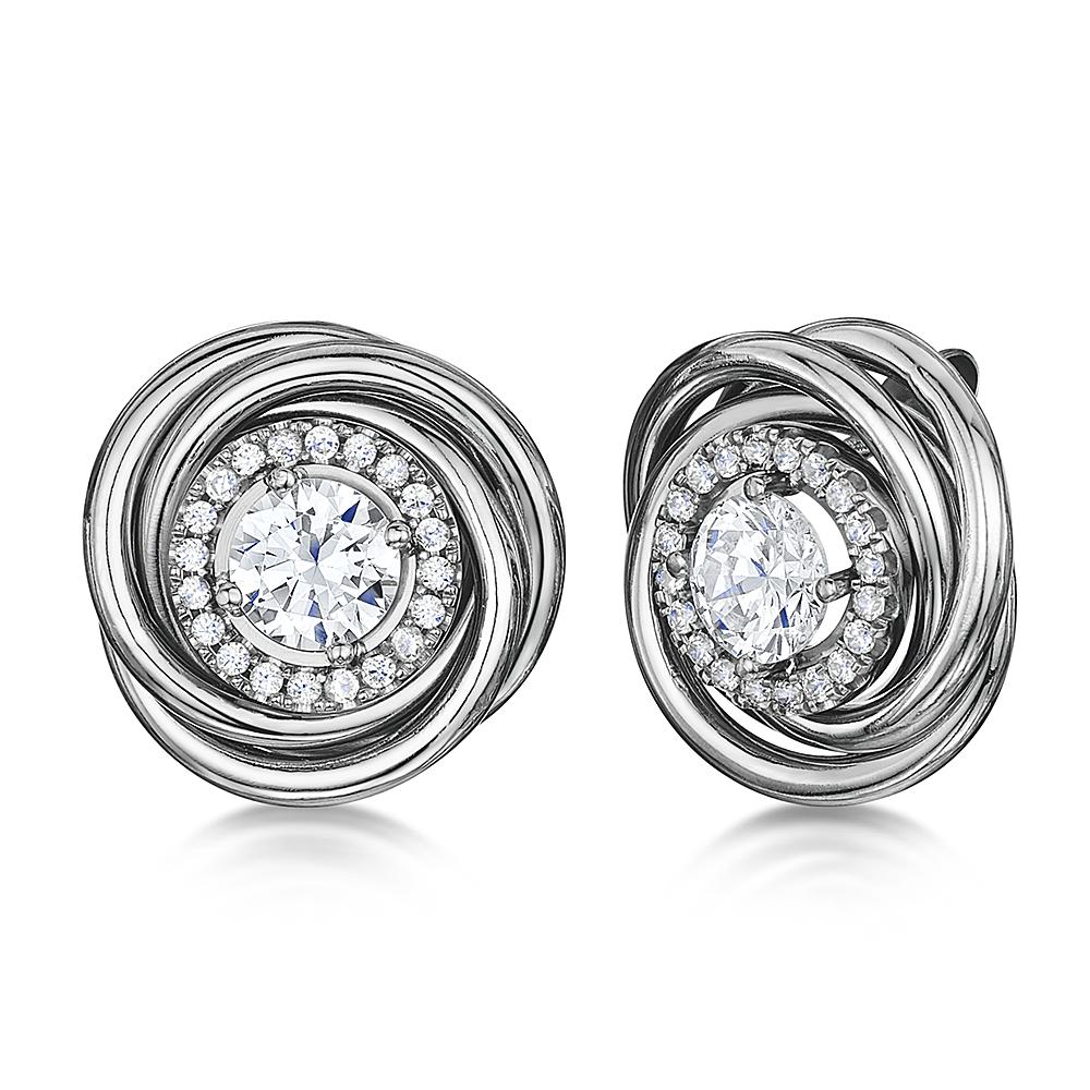 Titanium Twirled Large & Multi Stones Earrings