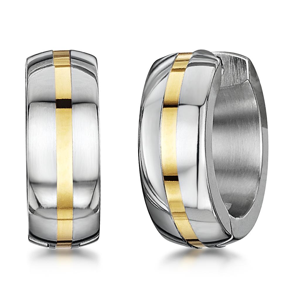 Titanium Gold Stripe Huggie Hinged Hoop Polished Earrings