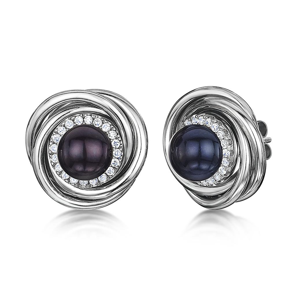 Titanium Black Pearl & Multi Cz Stones Earrings