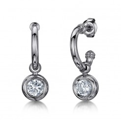Titanium Hoop Earrings Set with CZ Stone Drop