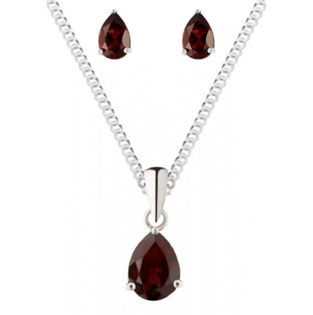 Garnet Earring Pendant Set 925 Sterling Silver Red Earrings Pendant Set