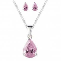 Pink CZ Pendant and Earrings Gift Set 925 Sterling Silver