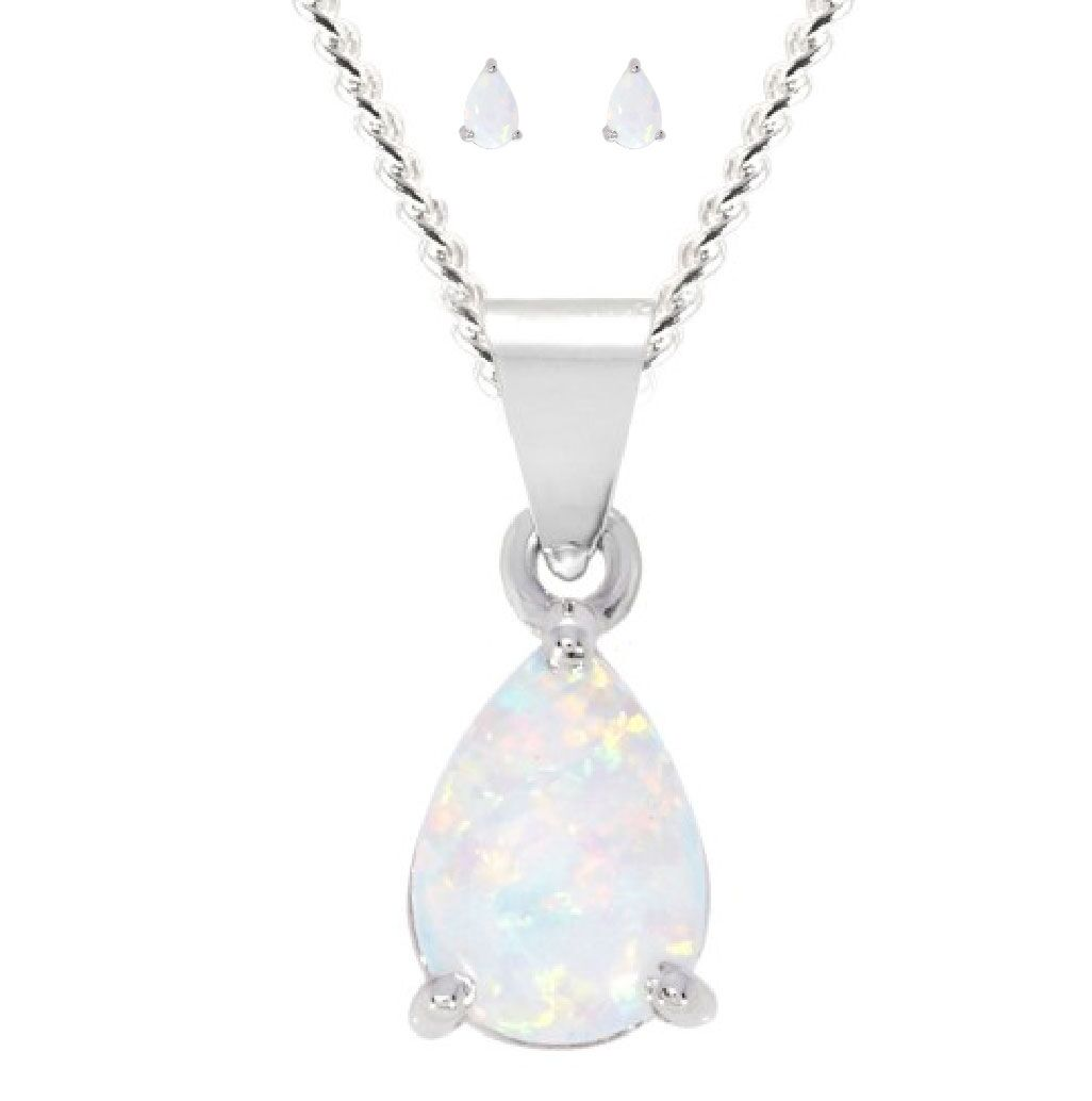 White Created Opal Stud Earrings & Pendant Necklace Set 925 Sterling Silver
