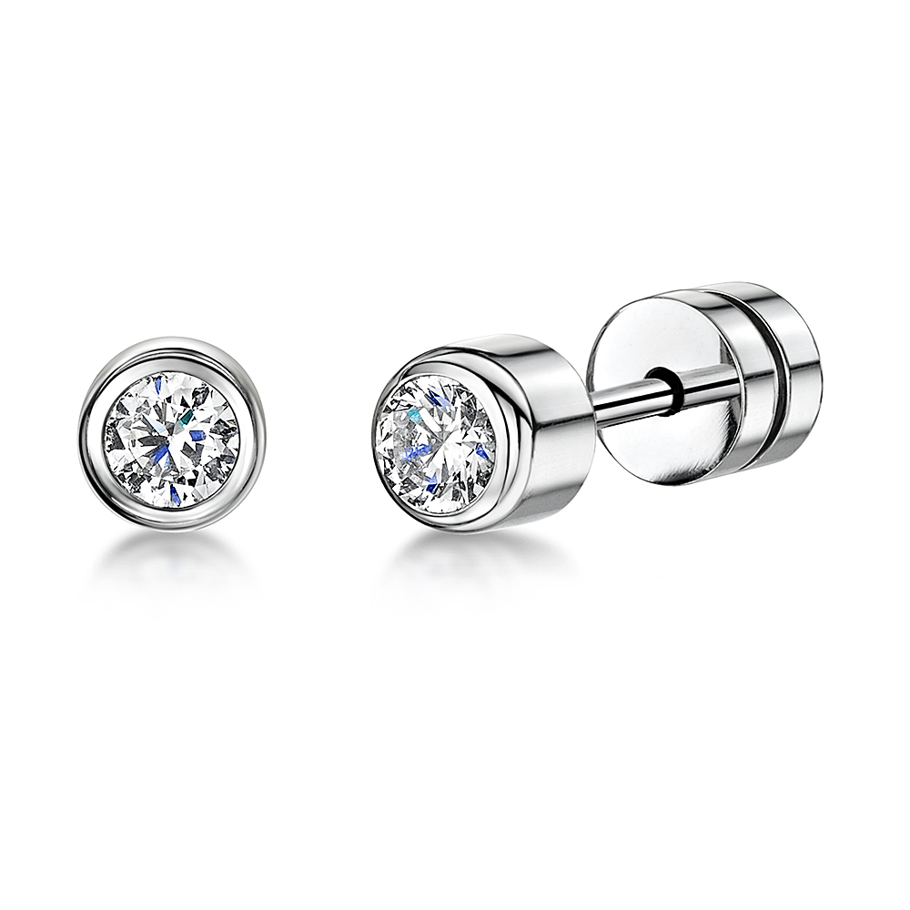 Ladies Titanium Stud Earrings Set With CZ Stone 5mm Sparkling Earrings