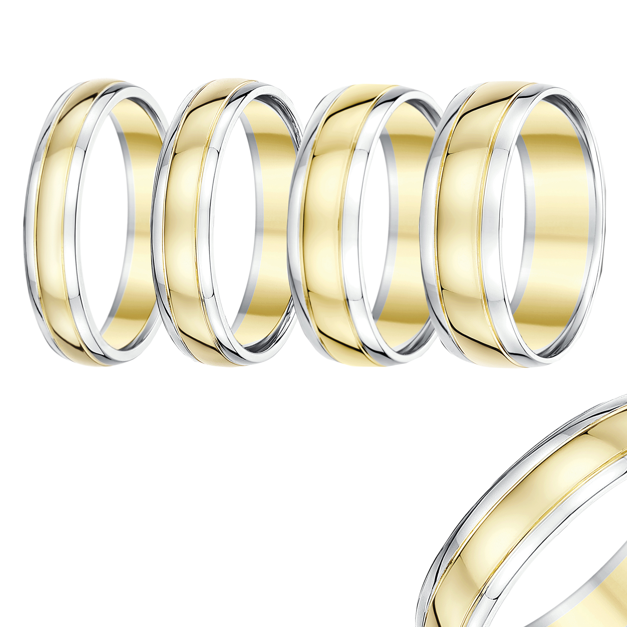 9ct Two Colour Gold Court Shape Wedding Ring Band