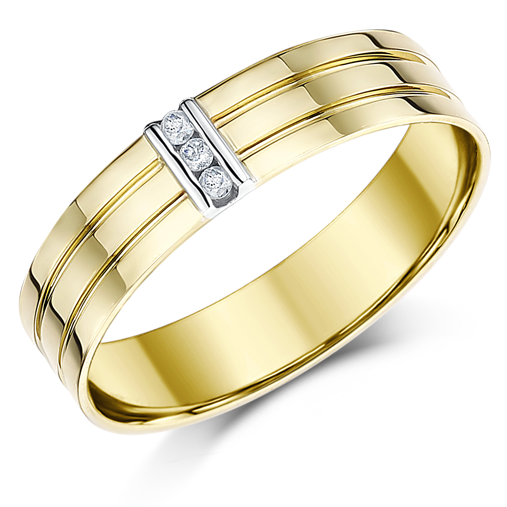5mm 9ct Solid Yellow Gold Three Diamond Grooved Ring