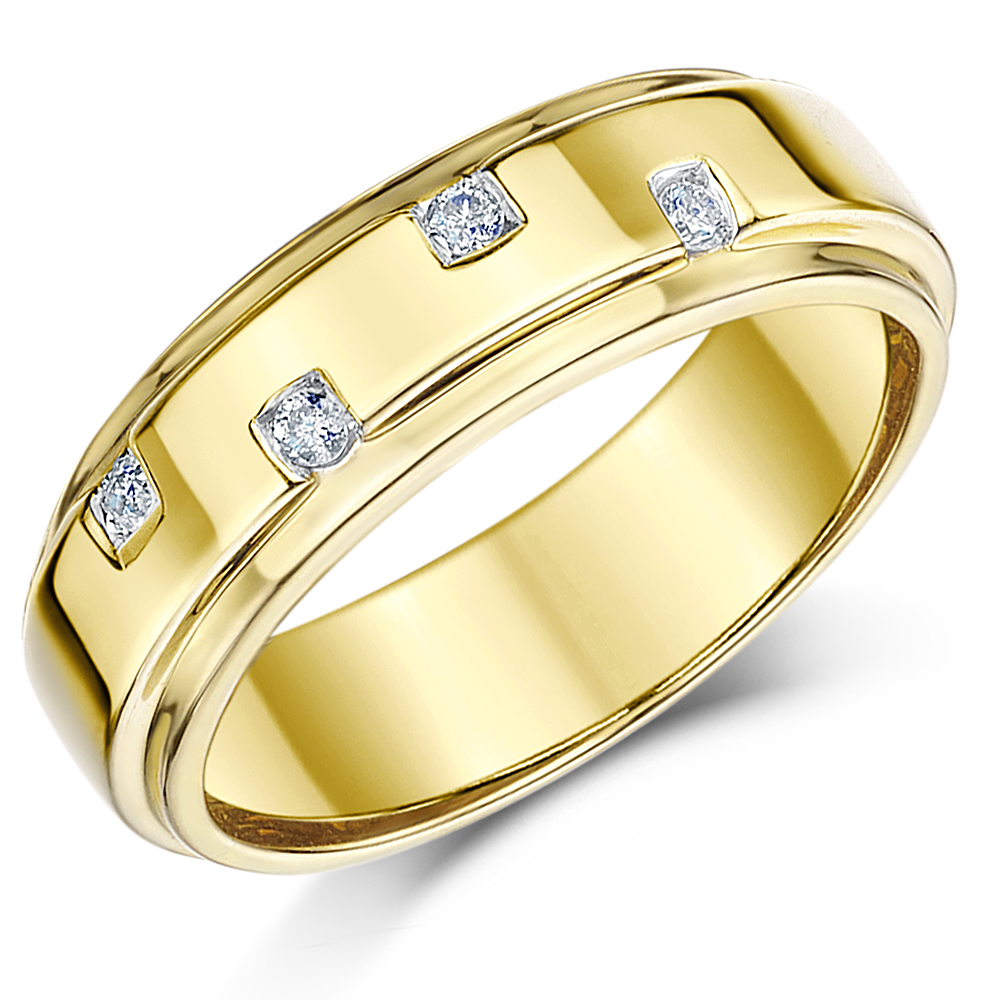 6mm 9ct Yellow Gold Diamond Wedding Ring Band