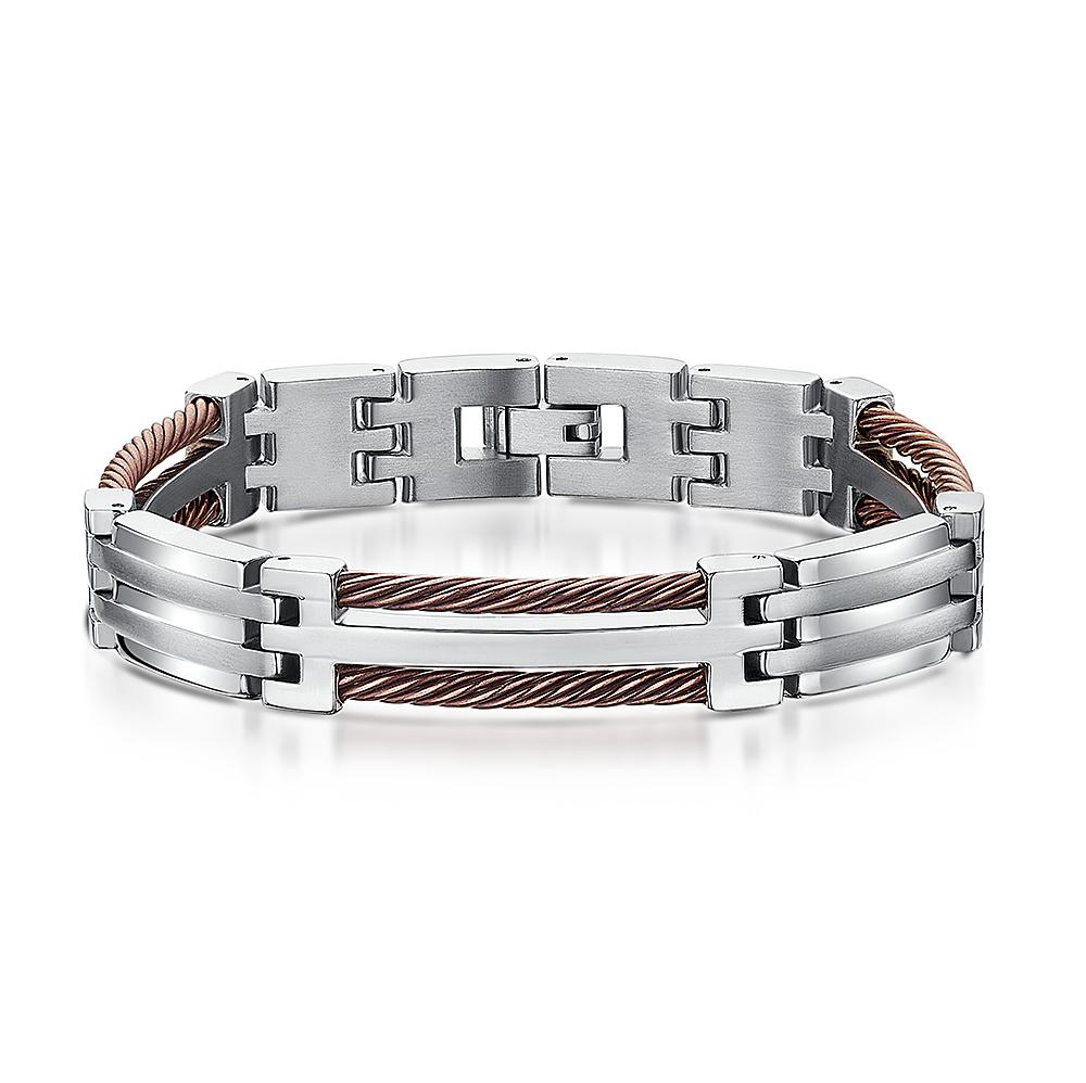 Titanium Brown Rope Bracelet