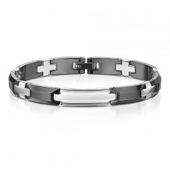 Ceramic & Stainless Steel Black & Silver Bracelet