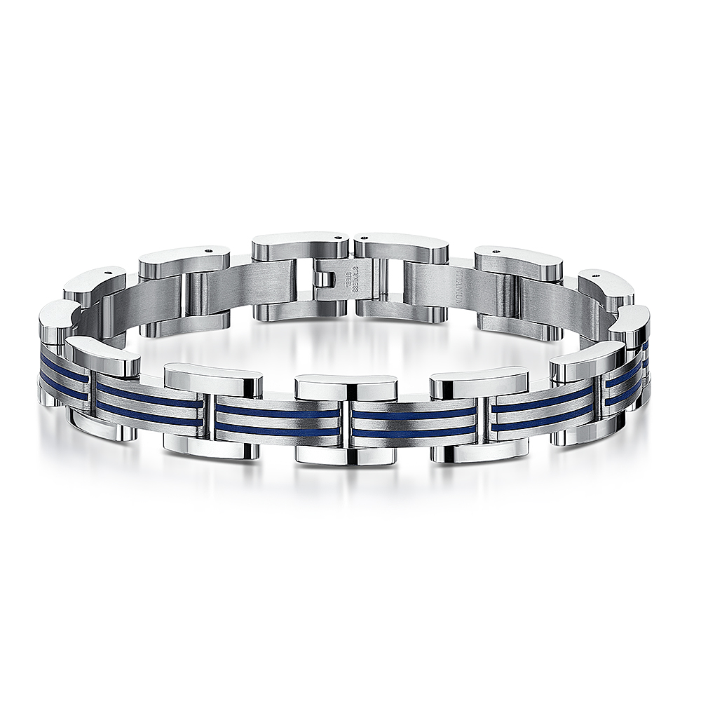 Men's Titanium Double Blue Stripe Enamel Link Bracelet