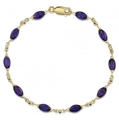 9ct Yellow Gold Amethyst Bracelet