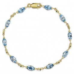 9ct Yellow Gold Blue Topaz 7'' Inch Bracelet