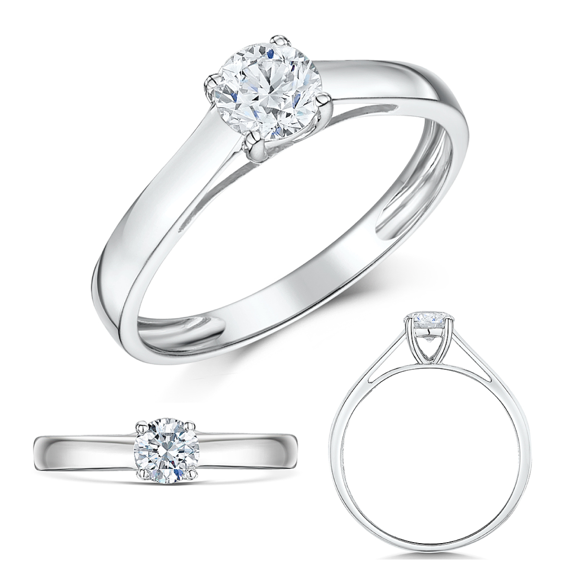 9ct White Gold Half Carat Diamond Solitaire Engagement Ring
