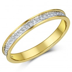 3mm 18ct Yellow Gold Diamond Eternity Wedding Ring Band