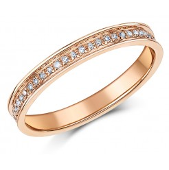 3mm 9ct Rose Gold Half Eternity 15 Point Diamond Ring