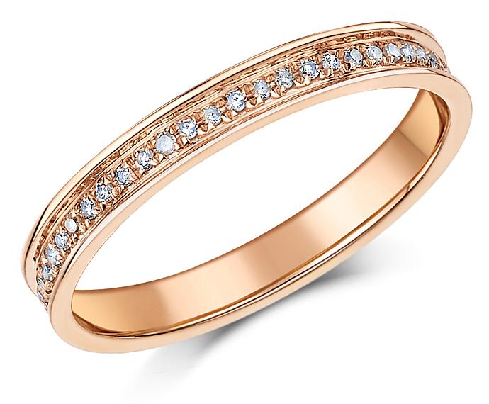 3mm 9ct Rose Gold Half Eternity 15 Point Diamond Ring Eternity