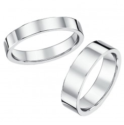 His & Hers 4&6mm Flat Court Sterling Silver Wedding Ring Bands