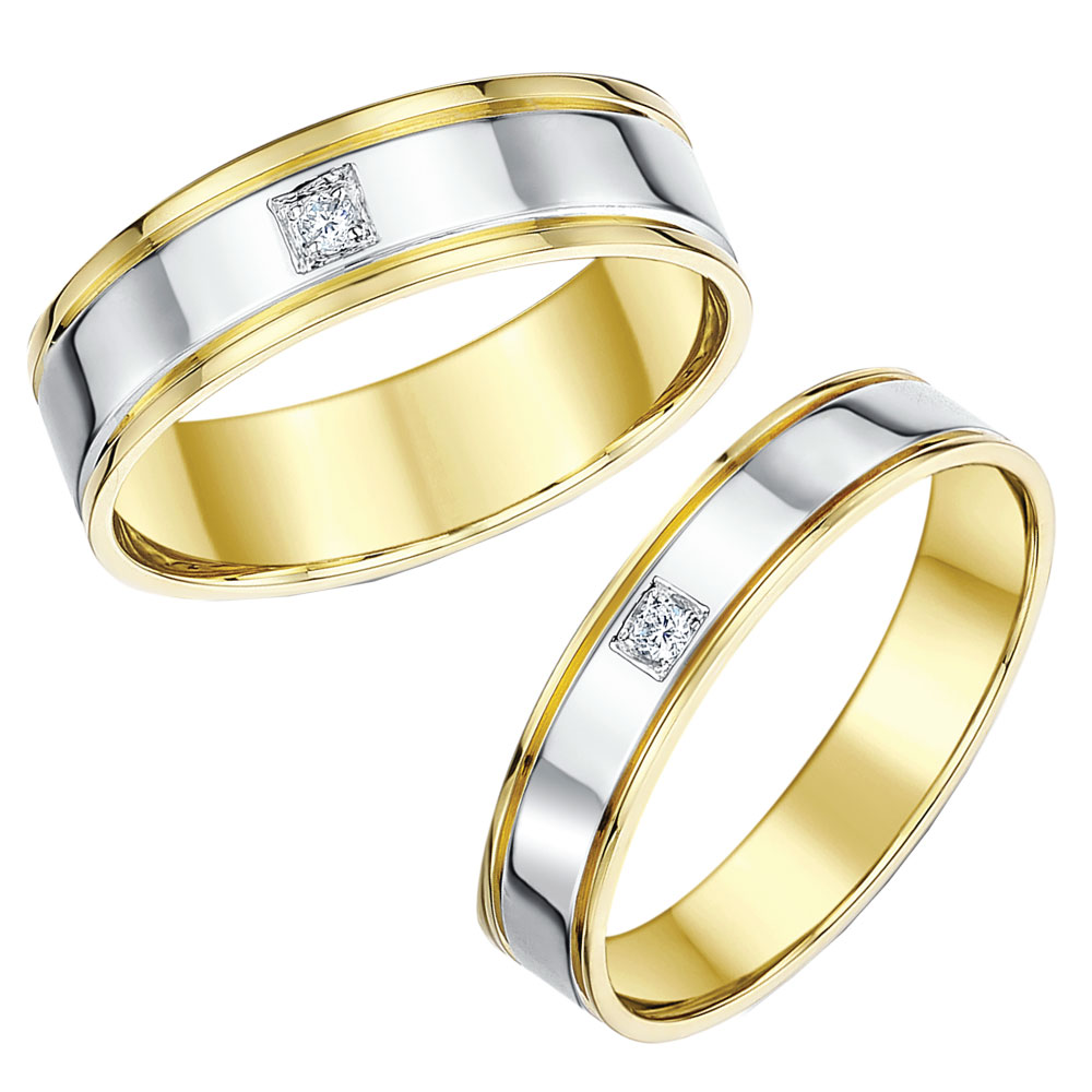 His & Hers 4&6mm 9ct Two Colour Gold Diamond Wedding Rings