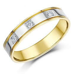 4mm Two Colour Three Diamond 18ct Gold Ring