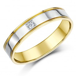 4mm 9ct Two Colour Gold Court Shape Diamond Wedding Ring