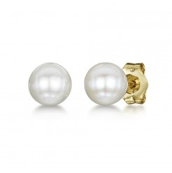 9ct Gold White Freshwater Pearl Stud Earrings 5-6mm