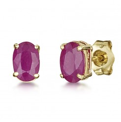 9ct Gold Oval Claw Set Ruby Stud Earrings 6x4mm