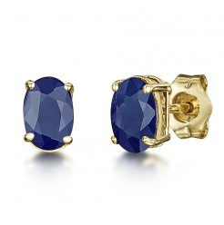 9ct Yellow Gold Blue Sapphire Claw Set Oval Stud Earrings 6x4mm