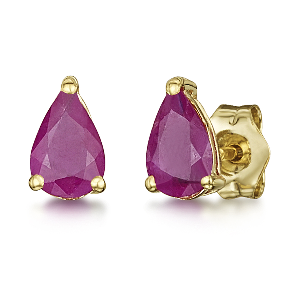 9ct Gold Pearshape Claw Set Ruby Stud Earrings 6x4mm