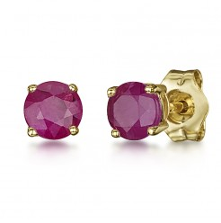 9ct Gold Round Claw Set Ruby Stud Earrings 4mm