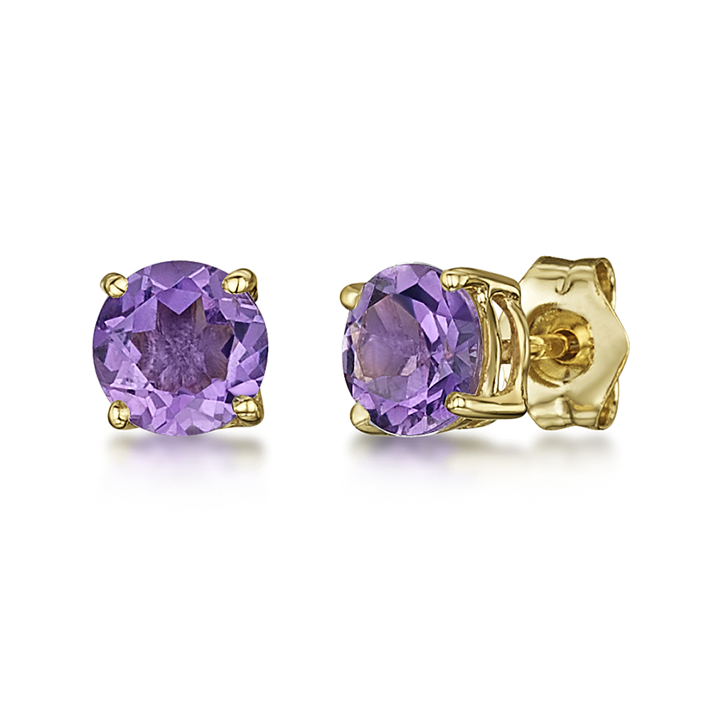 9ct Yellow Gold Amethyst Claw Set Stud Earrings 5mm
