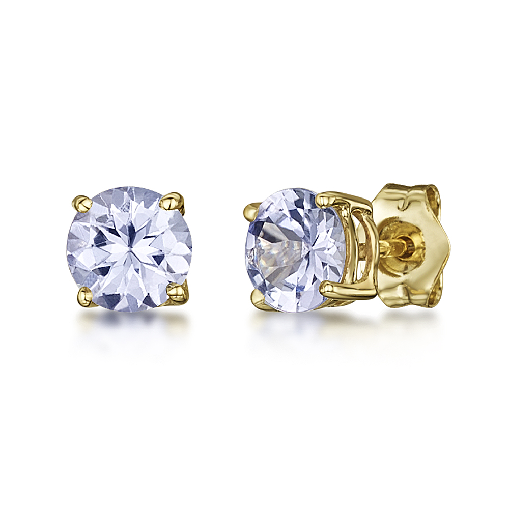 9ct Gold Tanzanite Round Claw Set Stud Earrings 5mm