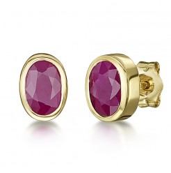 9ct Gold Oval Ruby Rubover Set Stud Earrings 6x4mm