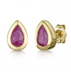 9ct Gold Pearshape Rubover Set Ruby Stud Earrings 6x4mm