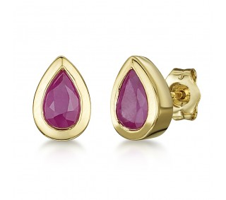 810e5287e 9ct Gold Pearshape Rubover Set Ruby Stud Earrings 6x4mm - 9ct Gold ...