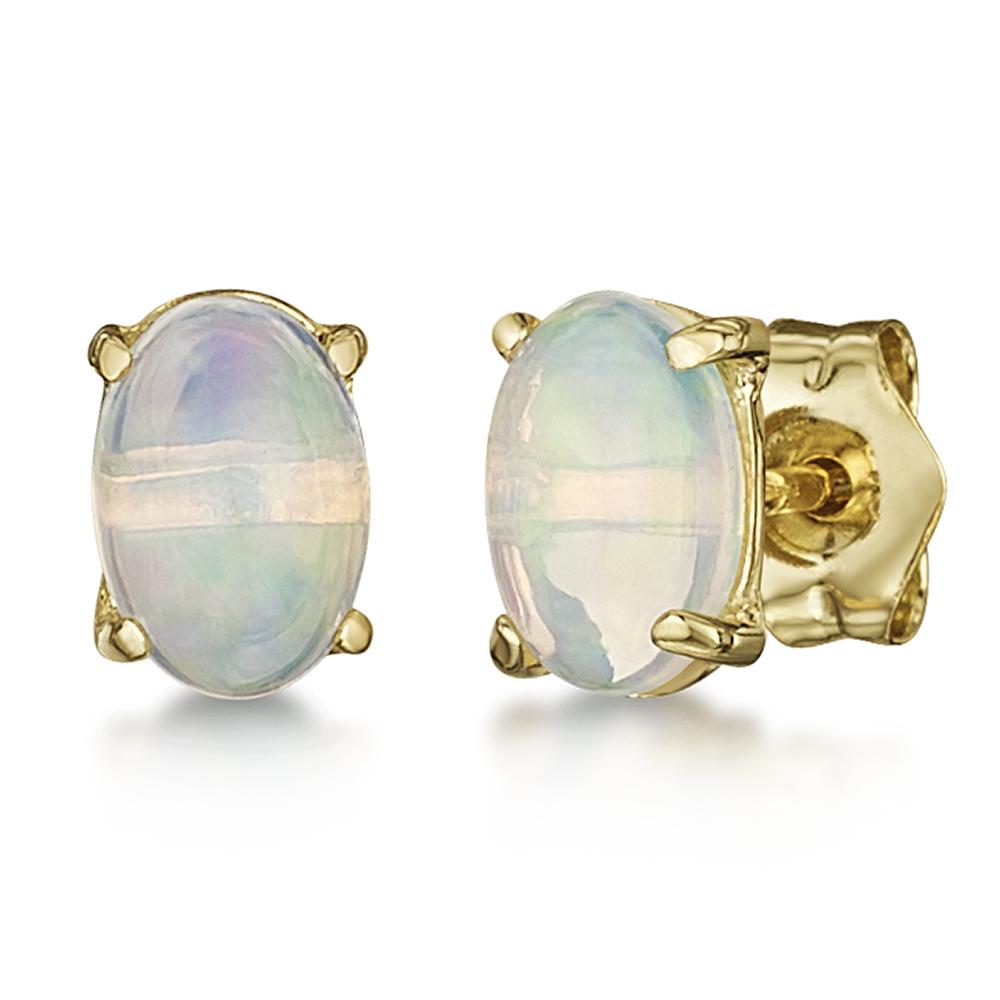 9ct Yellow Gold Oval Opal Stud Earrings 6x4mm