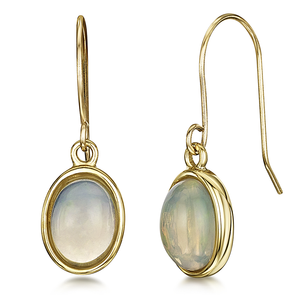 9ct yellow gold opal drop earrings 9ct gold earrings at