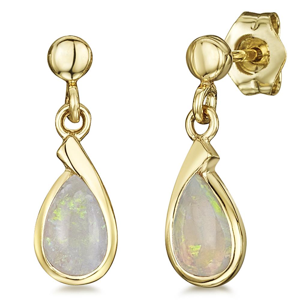 9ct Yellow Gold Opal Stud Drop Earrings