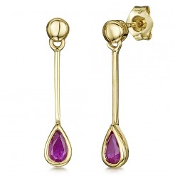 9ct Gold Pearshape Ruby Drop Earrings 4mmx23mm